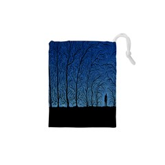 Forest Tree Night Blue Black Man Drawstring Pouches (xs)  by Mariart