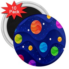 Planet Space Moon Galaxy Sky Blue Polka 3  Magnets (10 Pack)  by Mariart
