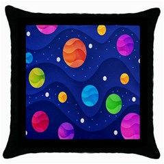 Planet Space Moon Galaxy Sky Blue Polka Throw Pillow Case (black) by Mariart