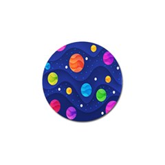 Planet Space Moon Galaxy Sky Blue Polka Golf Ball Marker by Mariart