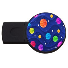 Planet Space Moon Galaxy Sky Blue Polka Usb Flash Drive Round (2 Gb) by Mariart