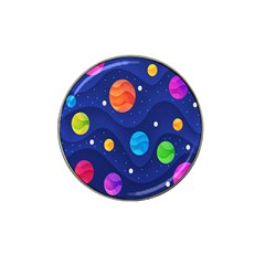 Planet Space Moon Galaxy Sky Blue Polka Hat Clip Ball Marker (4 Pack) by Mariart
