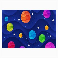 Planet Space Moon Galaxy Sky Blue Polka Large Glasses Cloth (2 Side) by Mariart