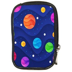 Planet Space Moon Galaxy Sky Blue Polka Compact Camera Cases by Mariart