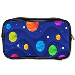 Planet Space Moon Galaxy Sky Blue Polka Toiletries Bags 2 Side by Mariart