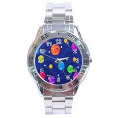 Planet Space Moon Galaxy Sky Blue Polka Stainless Steel Analogue Watch by Mariart