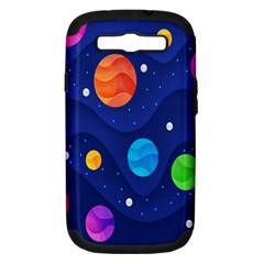 Planet Space Moon Galaxy Sky Blue Polka Samsung Galaxy S Iii Hardshell Case (pc+silicone) by Mariart