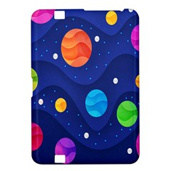 Planet Space Moon Galaxy Sky Blue Polka Kindle Fire Hd 8 9  by Mariart