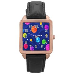 Planet Space Moon Galaxy Sky Blue Polka Rose Gold Leather Watch  by Mariart