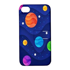 Planet Space Moon Galaxy Sky Blue Polka Apple Iphone 4/4s Hardshell Case With Stand by Mariart