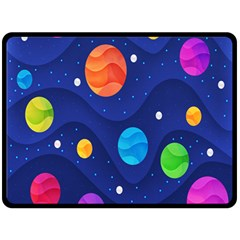 Planet Space Moon Galaxy Sky Blue Polka Double Sided Fleece Blanket (large)  by Mariart