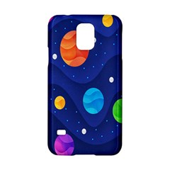 Planet Space Moon Galaxy Sky Blue Polka Samsung Galaxy S5 Hardshell Case  by Mariart