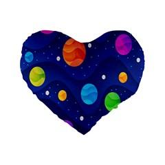 Planet Space Moon Galaxy Sky Blue Polka Standard 16  Premium Flano Heart Shape Cushions by Mariart