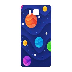 Planet Space Moon Galaxy Sky Blue Polka Samsung Galaxy Alpha Hardshell Back Case by Mariart