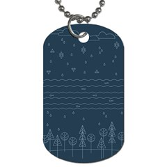 Rain Hill Tree Waves Sky Water Dog Tag (one Side) by Mariart