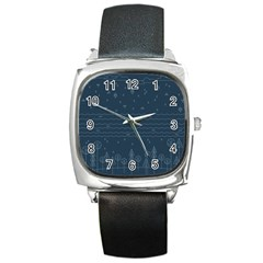 Rain Hill Tree Waves Sky Water Square Metal Watch by Mariart