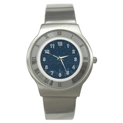 Rain Hill Tree Waves Sky Water Stainless Steel Watch by Mariart