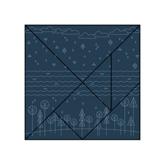 Rain Hill Tree Waves Sky Water Acrylic Tangram Puzzle (4  X 4 ) by Mariart