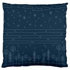 Rain Hill Tree Waves Sky Water Standard Flano Cushion Case (one Side) by Mariart