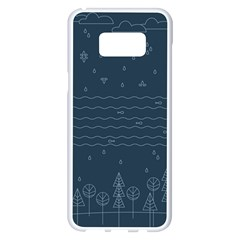 Rain Hill Tree Waves Sky Water Samsung Galaxy S8 Plus White Seamless Case by Mariart