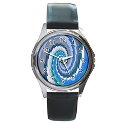 Psycho Hole Chevron Wave Seamless Round Metal Watch by Mariart