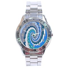 Psycho Hole Chevron Wave Seamless Stainless Steel Analogue Watch by Mariart