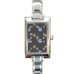 Random Doodle Pattern Star Rectangle Italian Charm Watch by Mariart