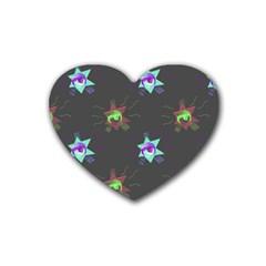 Random Doodle Pattern Star Heart Coaster (4 Pack)