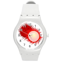 Rambutan Fruit Red Sweet Round Plastic Sport Watch (m) by Mariart