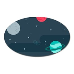 Space Pelanet Galaxy Comet Star Sky Blue Oval Magnet by Mariart