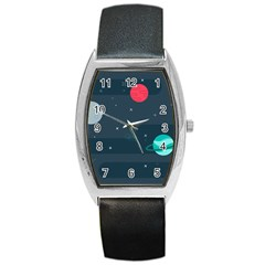 Space Pelanet Galaxy Comet Star Sky Blue Barrel Style Metal Watch by Mariart