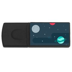 Space Pelanet Galaxy Comet Star Sky Blue Rectangular Usb Flash Drive by Mariart