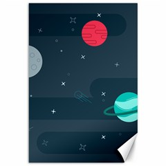 Space Pelanet Galaxy Comet Star Sky Blue Canvas 12  X 18   by Mariart