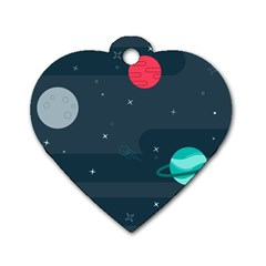 Space Pelanet Galaxy Comet Star Sky Blue Dog Tag Heart (one Side) by Mariart