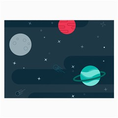 Space Pelanet Galaxy Comet Star Sky Blue Large Glasses Cloth (2 Side) by Mariart