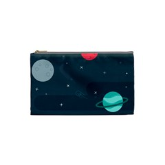 Space Pelanet Galaxy Comet Star Sky Blue Cosmetic Bag (small)  by Mariart