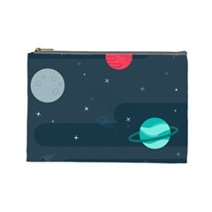 Space Pelanet Galaxy Comet Star Sky Blue Cosmetic Bag (large)  by Mariart