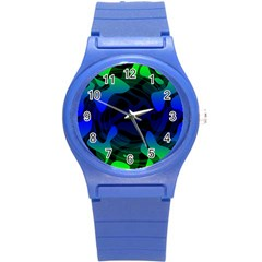 Spectrum Sputnik Space Blue Green Round Plastic Sport Watch (s) by Mariart