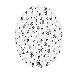 Star Doodle Oval Filigree Ornament (two Sides) by Mariart