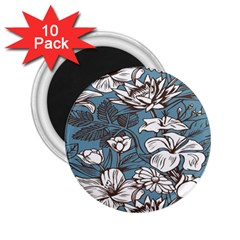Star Flower Grey Blue Beauty Sexy 2 25  Magnets (10 Pack)  by Mariart
