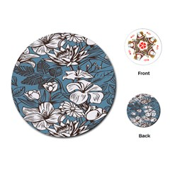 Star Flower Grey Blue Beauty Sexy Playing Cards (round)  by Mariart