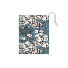 Star Flower Grey Blue Beauty Sexy Drawstring Pouches (small)  by Mariart