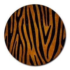Skin4 Black Marble & Yellow Grunge (r) Round Mousepads by trendistuff