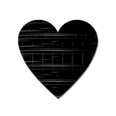Stripes Black White Minimalist Line Heart Magnet by Mariart