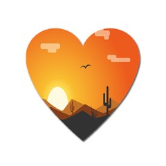 Sunset Natural Sky Heart Magnet by Mariart