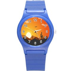 Sunset Natural Sky Round Plastic Sport Watch (s) by Mariart