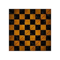 Square1 Black Marble & Yellow Grunge Acrylic Tangram Puzzle (4  X 4 ) by trendistuff