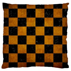 Square1 Black Marble & Yellow Grunge Large Cushion Case (two Sides)