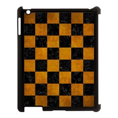 Square1 Black Marble & Yellow Grunge Apple Ipad 3/4 Case (black) by trendistuff