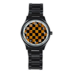 Square1 Black Marble & Yellow Grunge Stainless Steel Round Watch by trendistuff